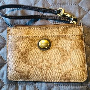 Coach Signature Canvas ID/Coin Wallet